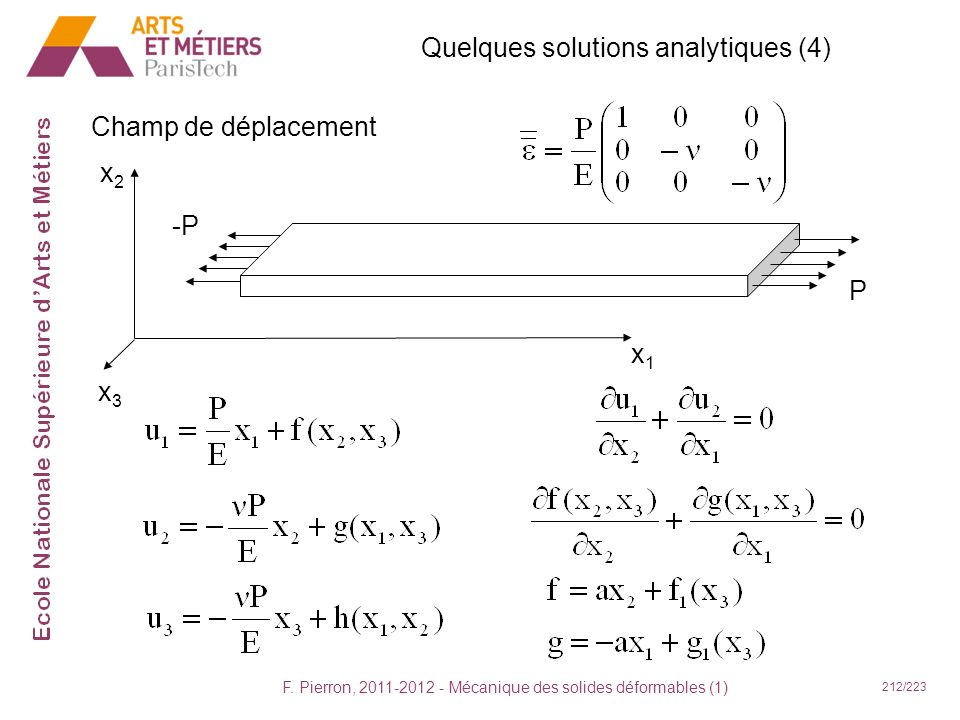 Quelques solutions analytiques (4)