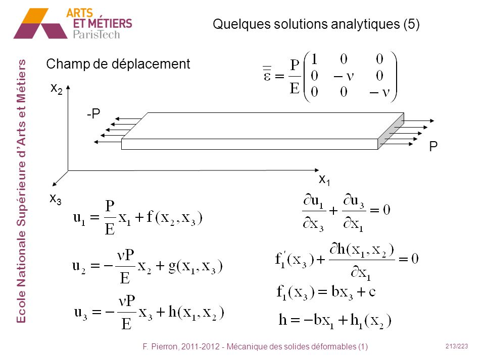 Quelques solutions analytiques (5)