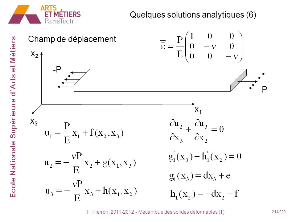 Quelques solutions analytiques (6)