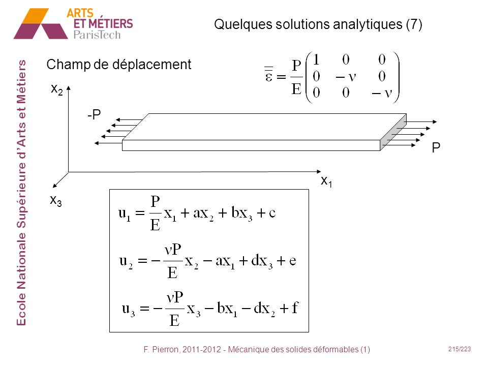 Quelques solutions analytiques (7)