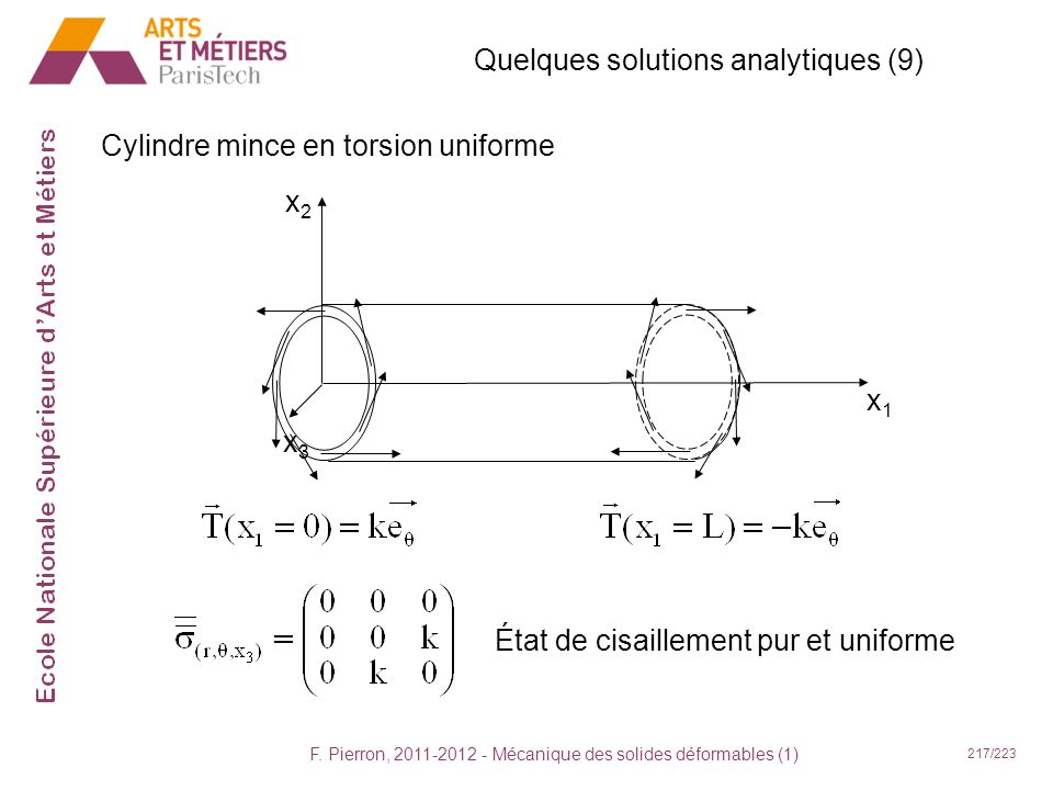 Quelques solutions analytiques (9)