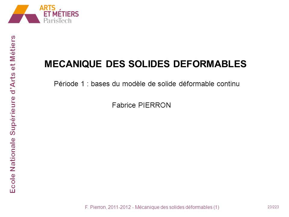MECANIQUE DES SOLIDES DEFORMABLES