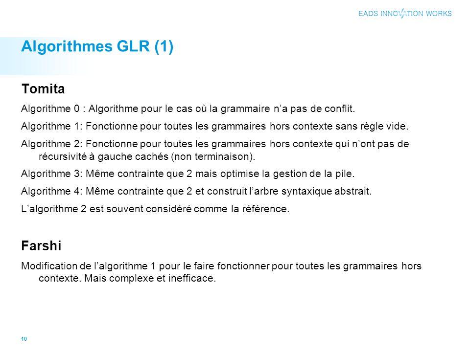 Algorithmes GLR (1) Tomita Farshi