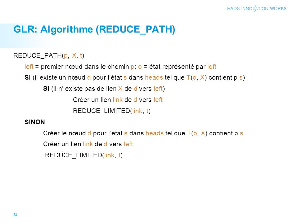 GLR: Algorithme (REDUCE_PATH)
