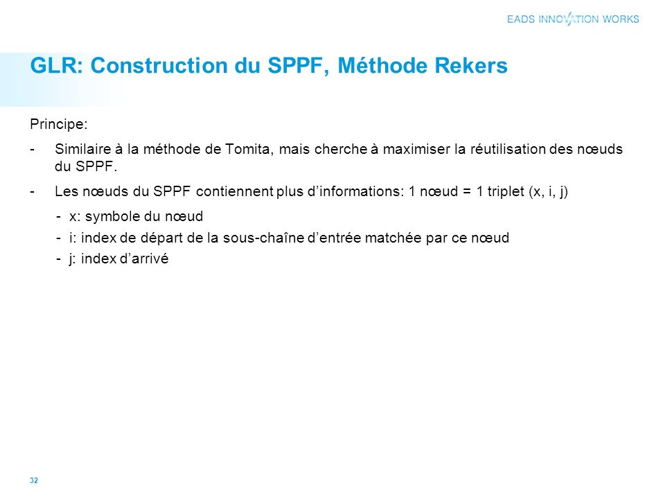 GLR: Construction du SPPF, Méthode Rekers