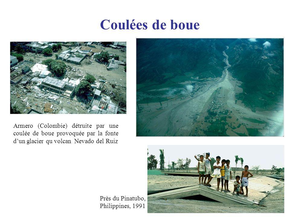Coulées de boue Armero (Colombie) détruite par une coulée de boue provoquée par la fonte d'un glacier qu volcan Nevado del Ruiz.