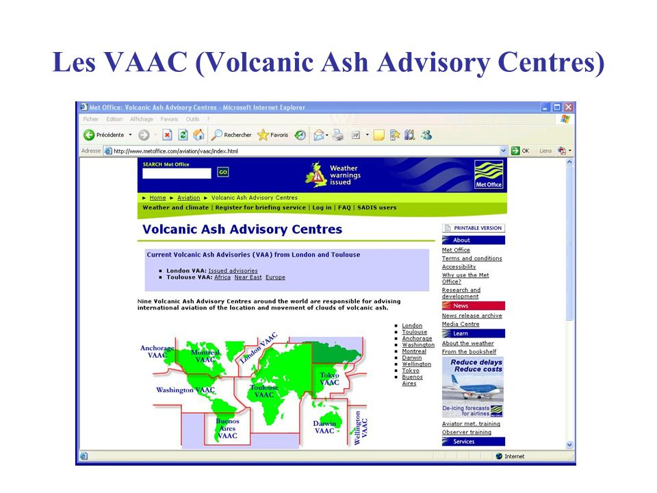 Les VAAC (Volcanic Ash Advisory Centres)
