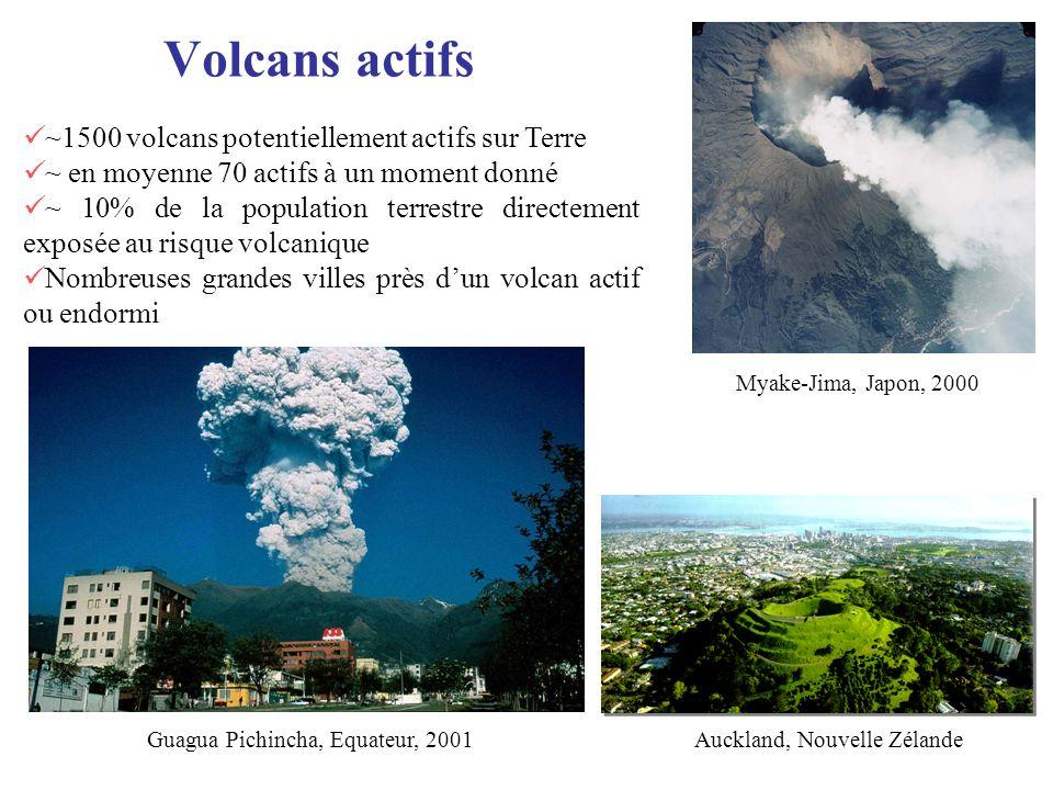 Volcans actifs ~1500 volcans potentiellement actifs sur Terre