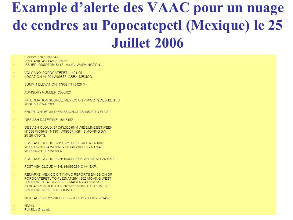 Example d'alerte des VAAC pour un nuage de cendres au Popocatepetl (Mexique) le 25 Juillet 2006