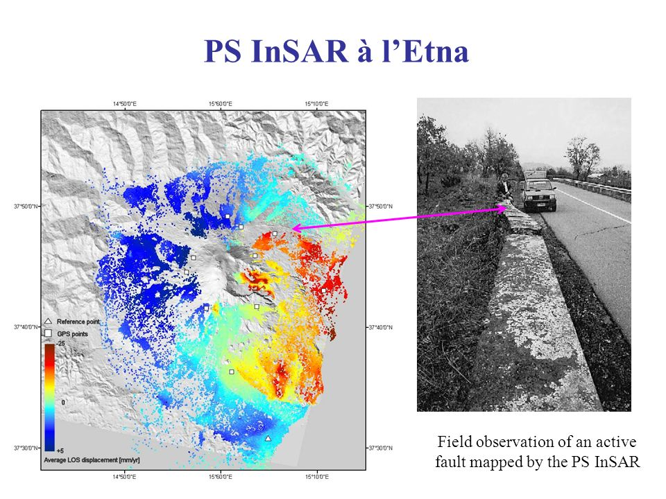 Field observation of an active fault mapped by the PS InSAR