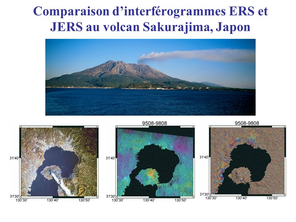 Comparaison d'interférogrammes ERS et JERS au volcan Sakurajima, Japon