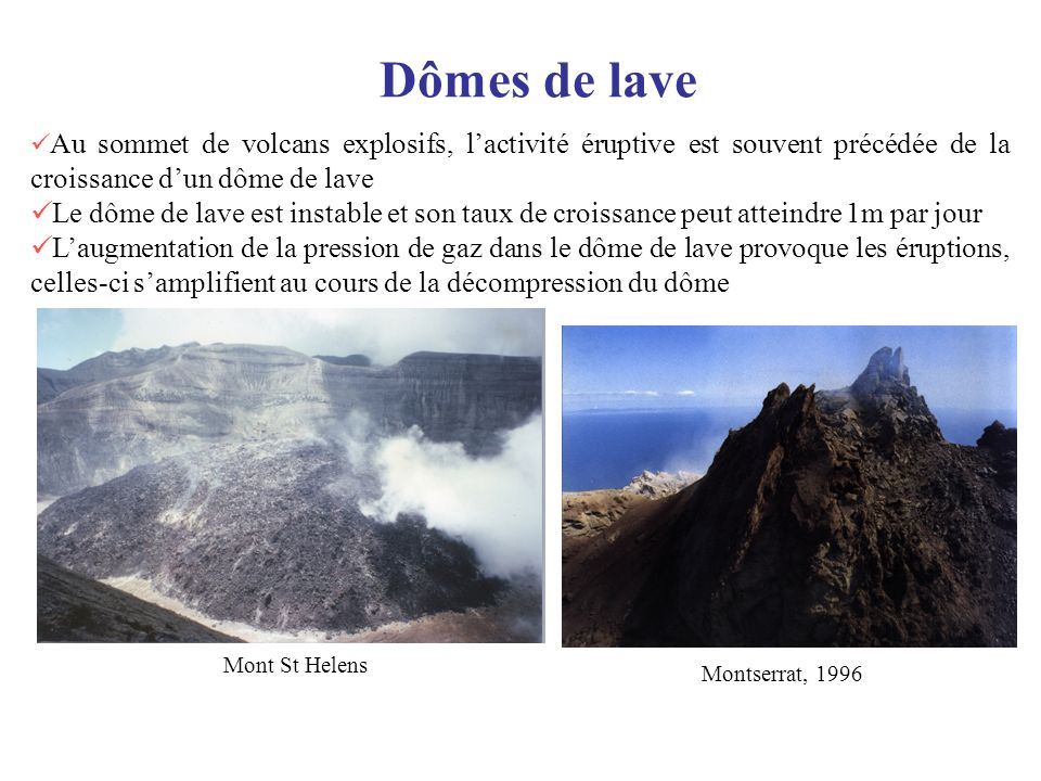 Dômes de lave Au sommet de volcans explosifs, l'activité éruptive est souvent précédée de la croissance d'un dôme de lave.