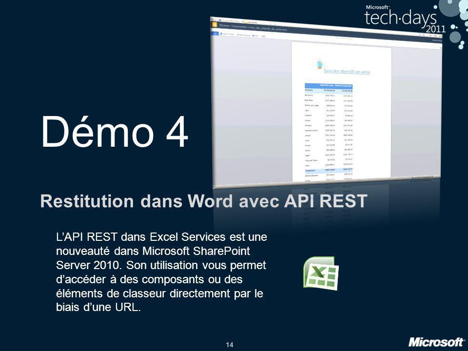 Restitution dans Word avec API REST