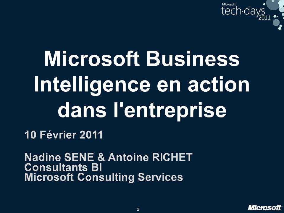 Microsoft Business Intelligence en action dans l entreprise