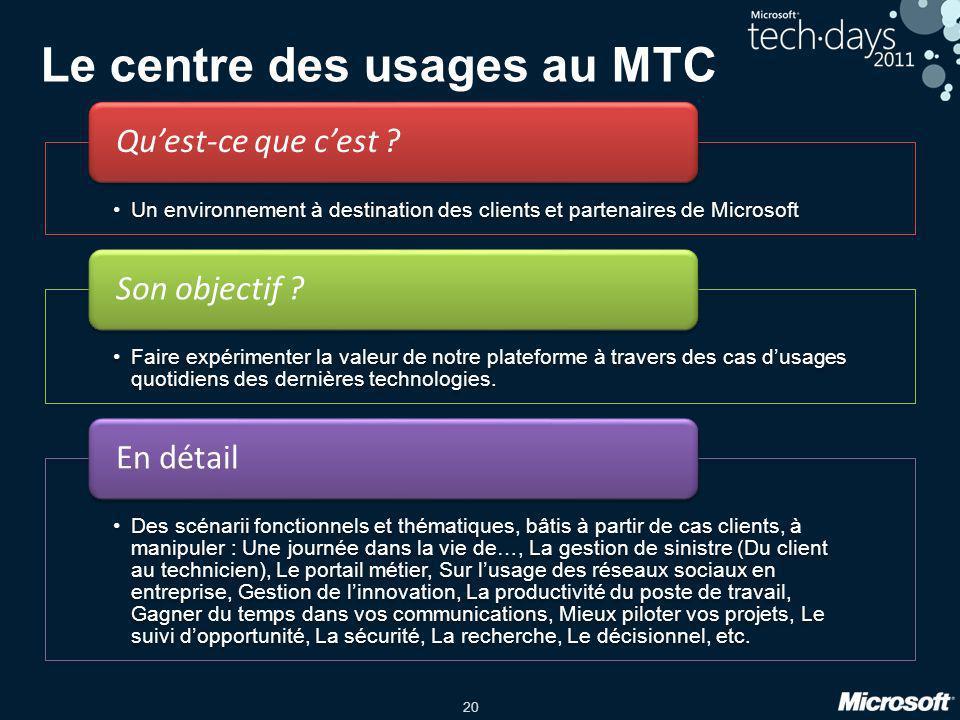 Le centre des usages au MTC