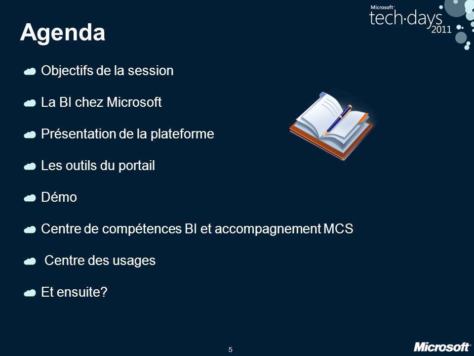 Agenda Objectifs de la session La BI chez Microsoft