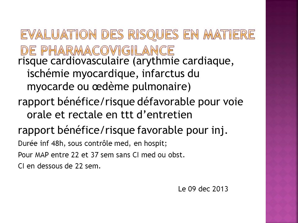 EVALUATION DES RISQUES EN MATIERE DE PHARMACOVIGILANCE