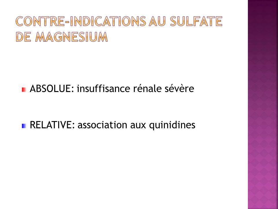 Contre-indications au SULFATE DE MAGNESIUM
