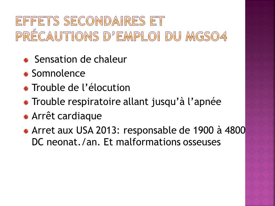 Effets secondaires et précautions d'emploi du MgSO4