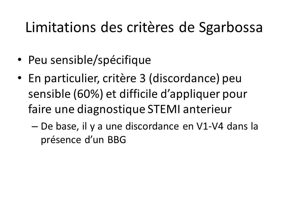 Limitations des critères de Sgarbossa