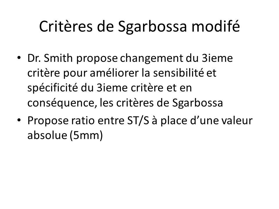 Critères de Sgarbossa modifé