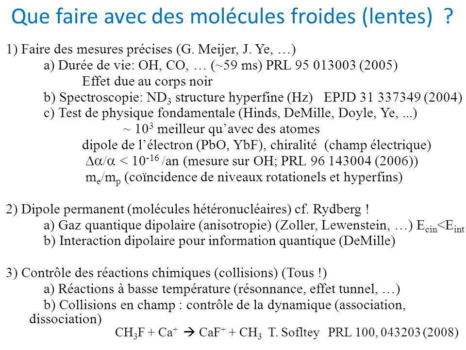 Que faire avec des molécules froides (lentes)