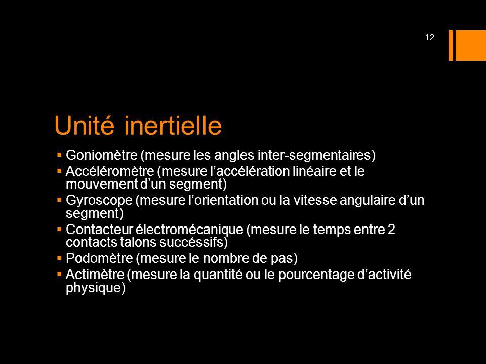 Unité inertielle Goniomètre (mesure les angles inter-segmentaires)
