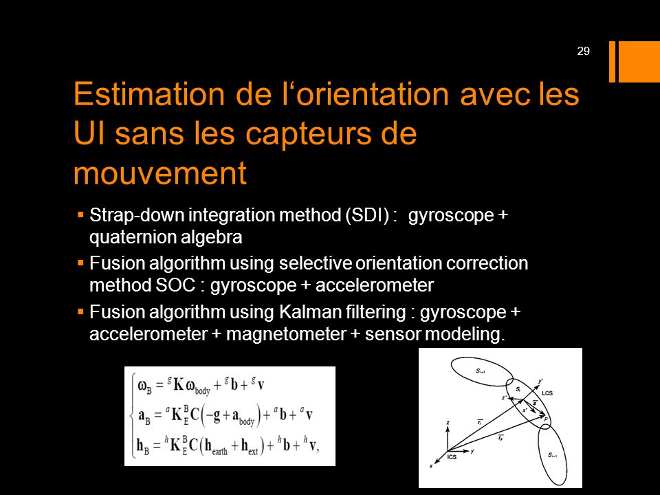 Estimation de l'orientation avec les UI sans les capteurs de mouvement