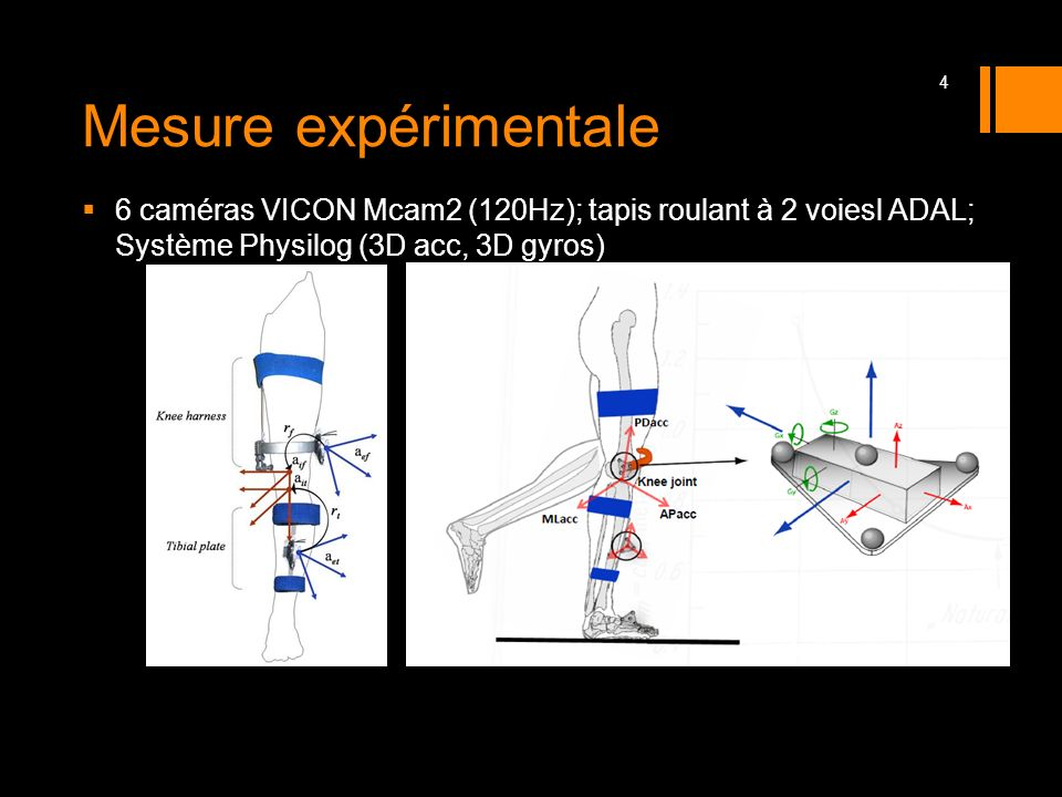 Mesure expérimentale 6 caméras VICON Mcam2 (120Hz); tapis roulant à 2 voiesl ADAL; Système Physilog (3D acc, 3D gyros)