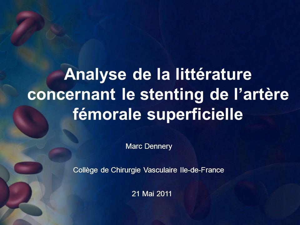 Analyse de la littérature concernant le stenting de l'artère fémorale superficielle