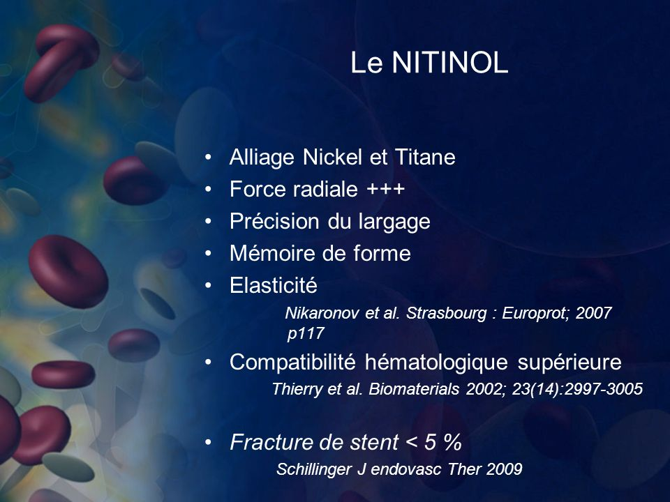 Le NITINOL Alliage Nickel et Titane Force radiale +++