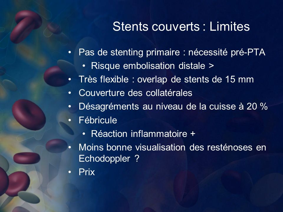 Stents couverts : Limites