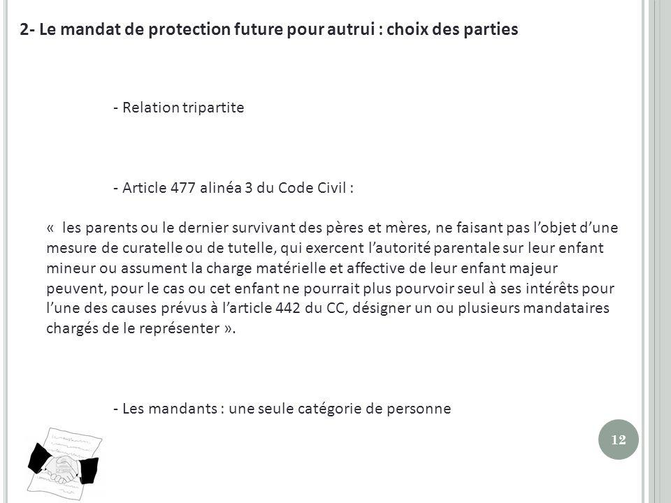 2- Le mandat de protection future pour autrui : choix des parties