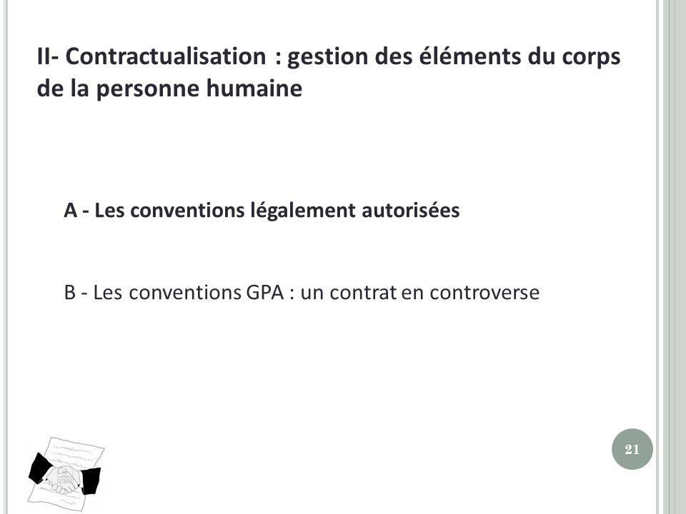II- Contractualisation : gestion des éléments du corps de la personne humaine