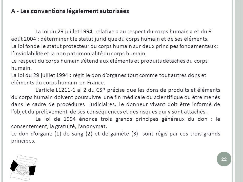 A - Les conventions légalement autorisées