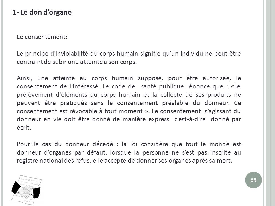 1- Le don d'organe Le consentement: