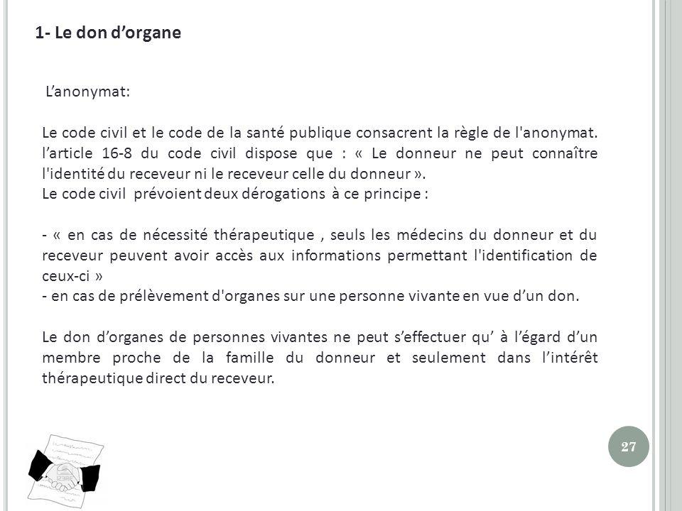 1- Le don d'organe L'anonymat:
