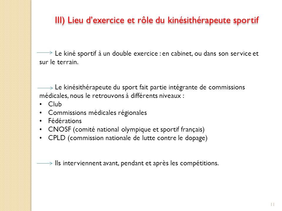 III) Lieu d'exercice et rôle du kinésithérapeute sportif
