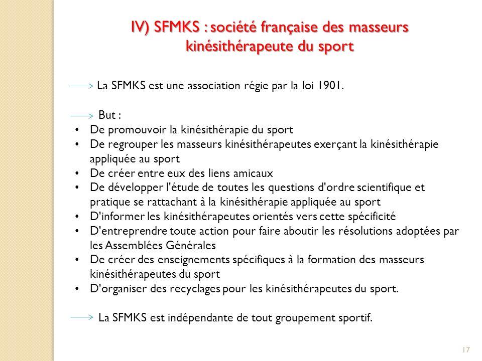 IV) SFMKS : société française des masseurs kinésithérapeute du sport