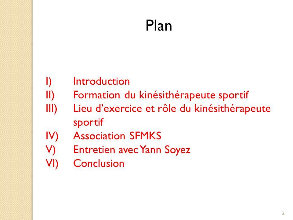 Plan Introduction Formation du kinésithérapeute sportif