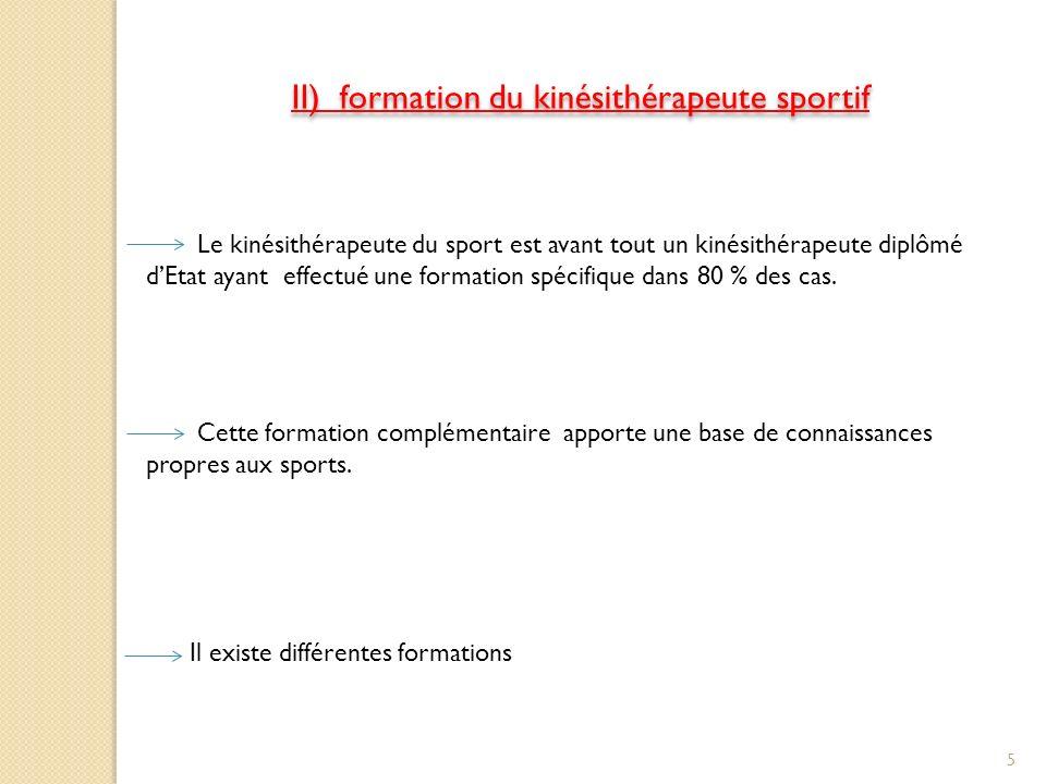 II) formation du kinésithérapeute sportif