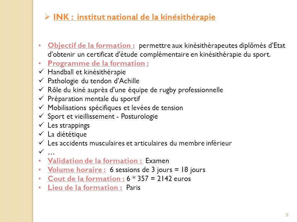 INK : institut national de la kinésithérapie