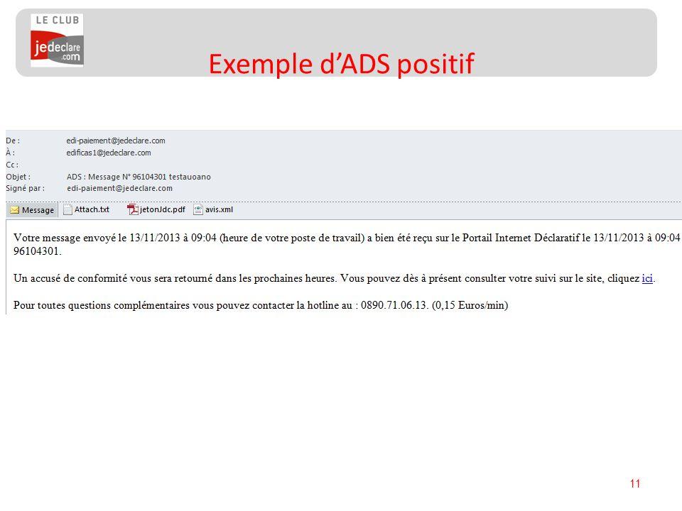Exemple d'ADS positif