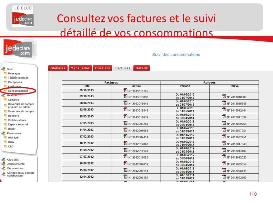 Consultez vos factures et le suivi détaillé de vos consommations