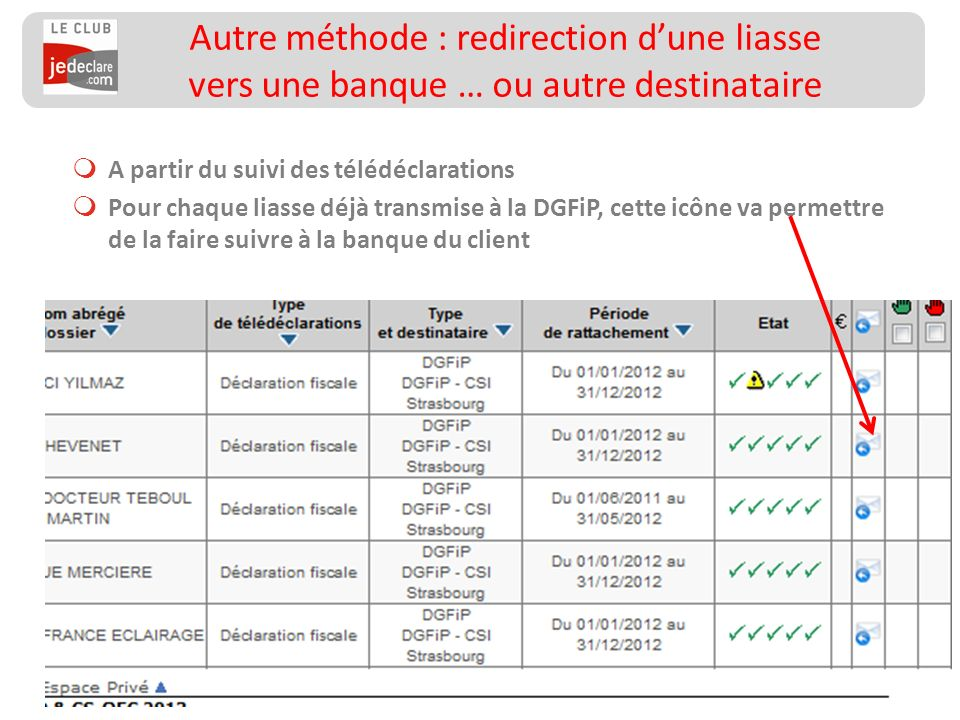 Autre méthode : redirection d'une liasse vers une banque … ou autre destinataire