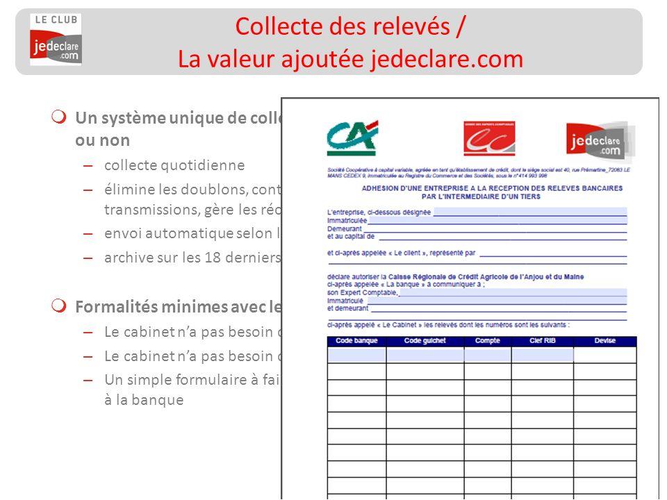 Collecte des relevés / La valeur ajoutée jedeclare.com