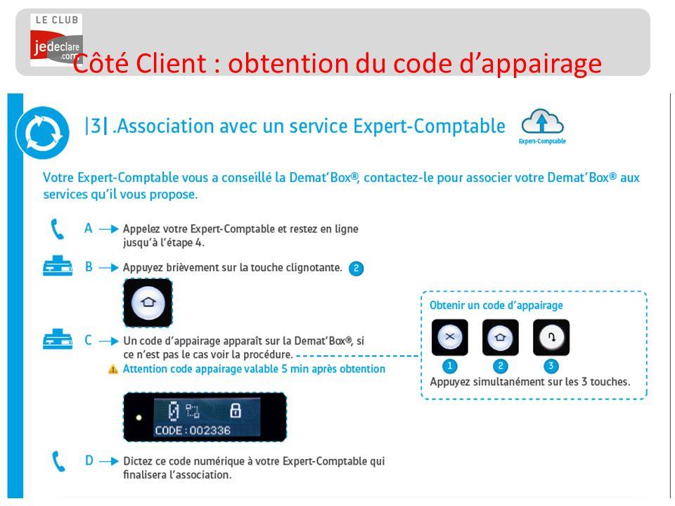Côté Client : obtention du code d'appairage