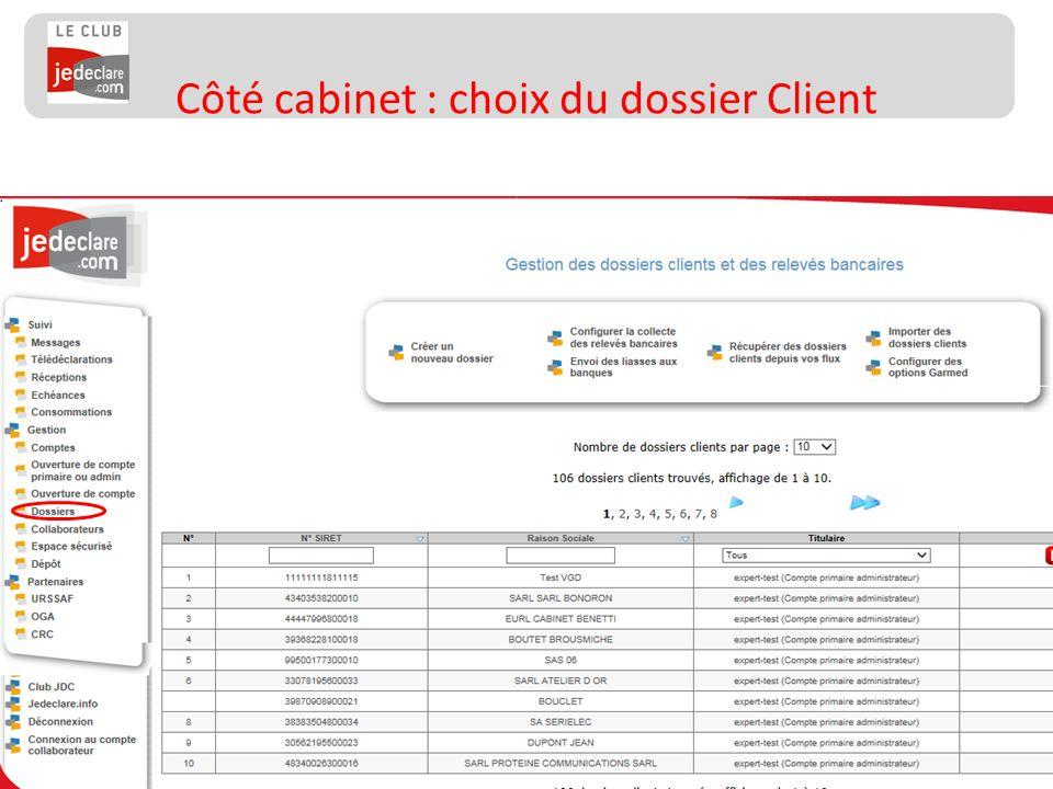 Côté cabinet : choix du dossier Client