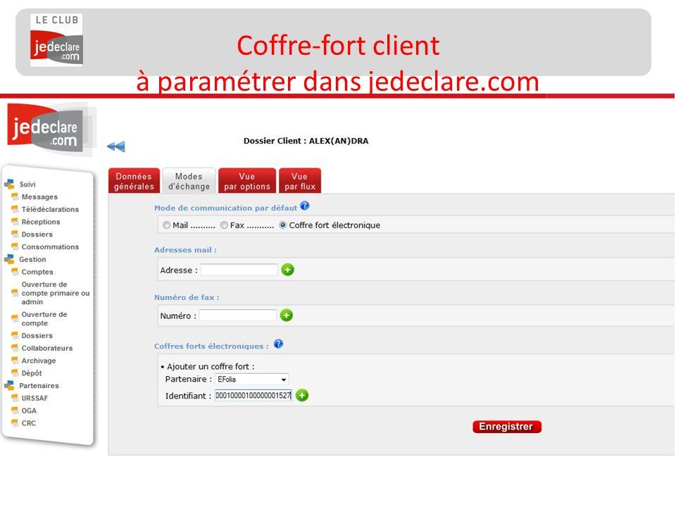 Coffre-fort client à paramétrer dans jedeclare.com