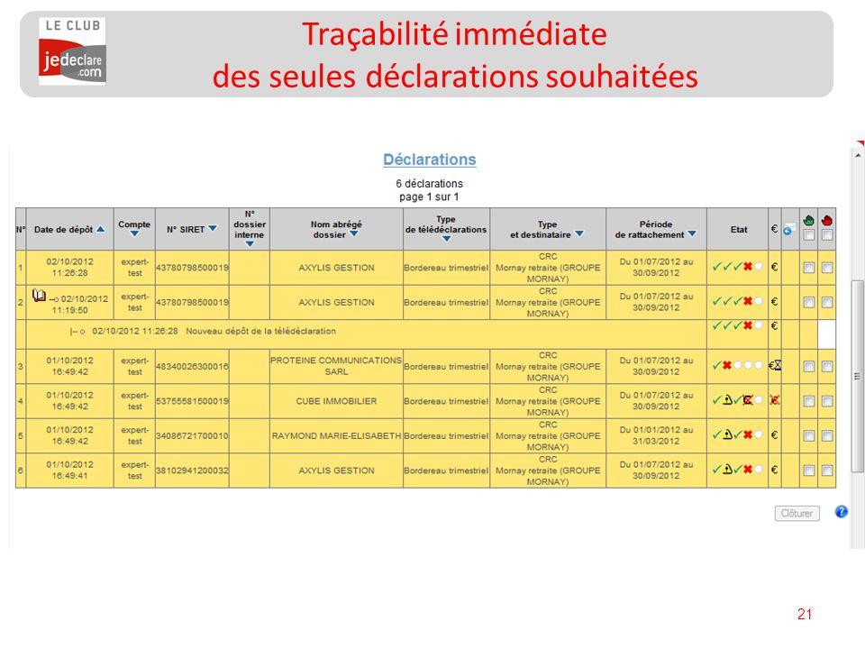 Traçabilité immédiate des seules déclarations souhaitées